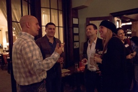 "from left: Will Pollock, Lucas Schneider, Rob O'Connor & Alexis Vear at the ""Pizza for Good"" book-release party"