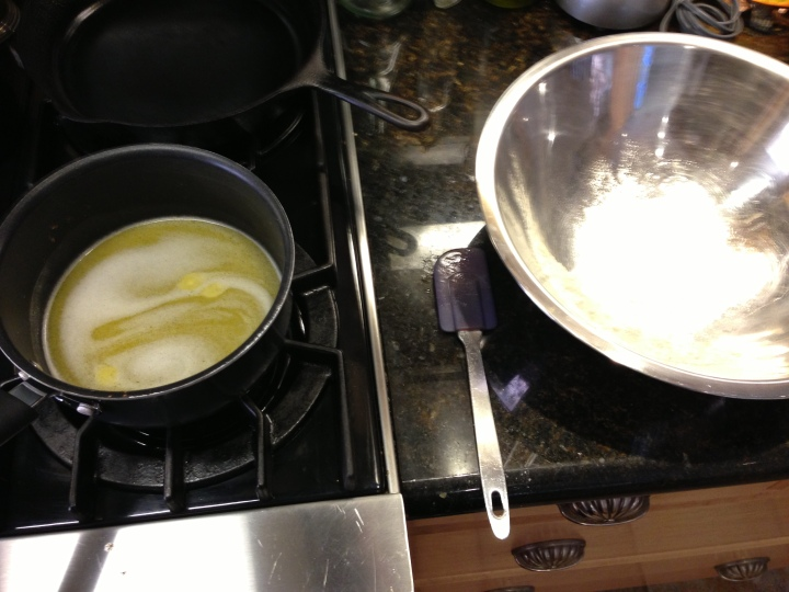 keep the butter and the flour close together so they mix when the butter mixture is hot.