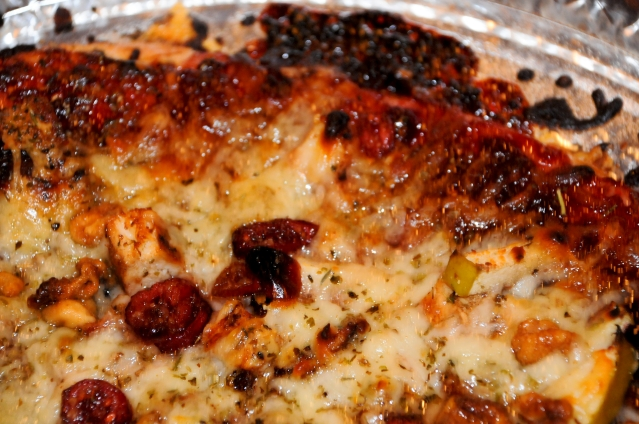 """The finished """"Pi"""" pizza with cherry-butter glaze"""